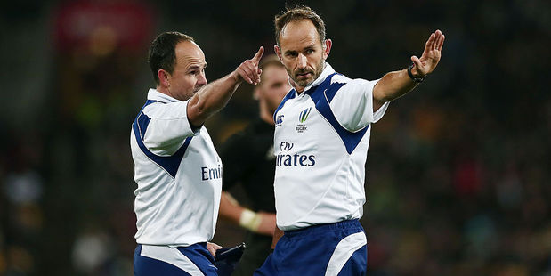 Referees Romain Poite (right) and Jaco Peyper have been criticised by Wallabies coach Michael Chieka. Photo / Getty