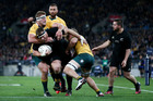 Wyatt Crockett on the charge during the Bledisloe Cup test at Wellington. Photo / Getty Images