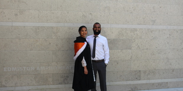 Nilesh Ladwa is happy he left university and has since been able to purchase a house. Here he stands with his girlfriend Amita Kala who completed her Bachelors of Commerce.