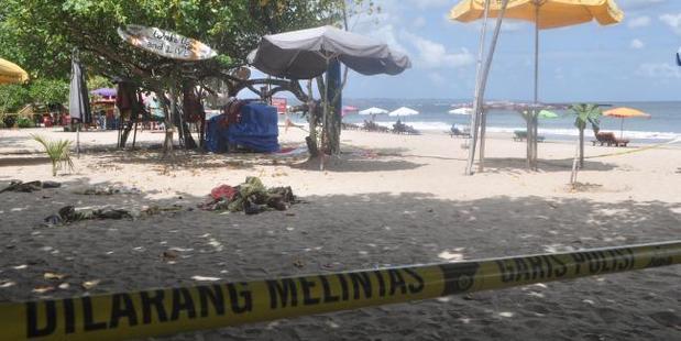 The crime scene on Kuta Beach. Photo / AAP