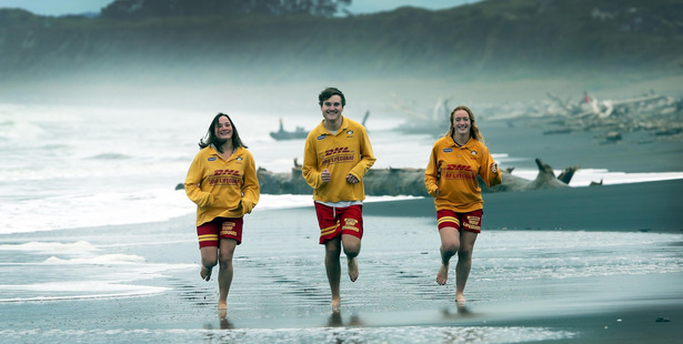 Clarissa Nowak, Julian Kasner and Samantha Miller say being a life guard is the best summer job there is. Photo/ Stuart Munro