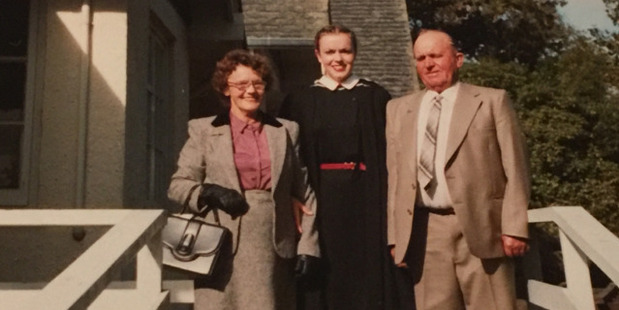 Judith Collins with her parents, Jessie and Percy, pictured in 1981 when Collins received her Bachelor of Law degree. Photo / Supplied