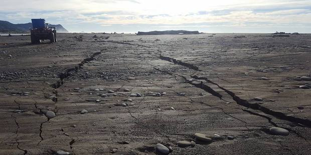 Cracks on an East Coast beach after Friday's early morning earthquake. Source: Ali Rewi