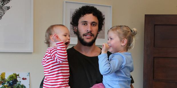 How To Dad Jordan Watson with Alba, 20 months old, and 3yr old Mila. Photo / Supplied
