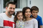 The Jones family. From left - Paul, Ivy, 2, Mahani, and Kingston, 6. Photo / Jason Oxenham