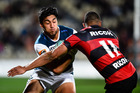 Rieko Ioane of Auckland is tackled by Nathan Earle of Canterbury during the Mitre 10 Cup Rugby Match, Canterbury V Auckland, AMI Stadium, Christchurch, New Zealand. Photo: photosport.nz