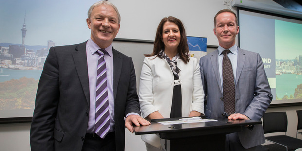 Auckland Mayoral candidates - Phil Goff, Victoria Crone and Mark Thomas. Photo / Nick Reed