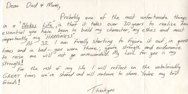 A supplied image of a touching letter from a 32-year-old Steve Irwin to his parents, which his father, Bob, only found in 2016. Photo / AAP