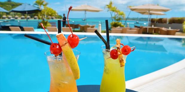 Poolside bar at the Grand Hotel Port Vila.