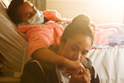Valencia Davies with her mother Ene Mikaere in Rotorua Hospital. PHOTO/STEPHEN PARKER