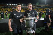 All Blacks second five-eighths Anton Lienert-Brown captain Kieran Read with the Bledisloe Cup after defeating the Wallabies, 29-9. Photo / Mark Mitchell.