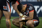 Warriors player David Fusitu'a looks dejected after their loss during round 25 of the NRL Rugby League match between the Warriors and the West Tigers. Photo / Dean Purcell.