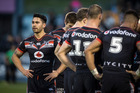 Warriors player Shaun Johnson looks dejected after their loss during round 25 of the NRL Rugby League match between the Warriors and the West Tigers. Photo / Dean Purcell.