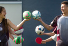 JUGGLING: Jahzell Roberts, 12, left, and Dawson Smith, 13, are among the 72 students heading to the AIMS Games in Tauranga from Rotorua Intermediate School.