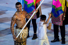 Flag bearer from Tonga Pita Taufatofua leds in his team at the Grand Opening of the Olympic Summer Games 2016. Photo / Photosport