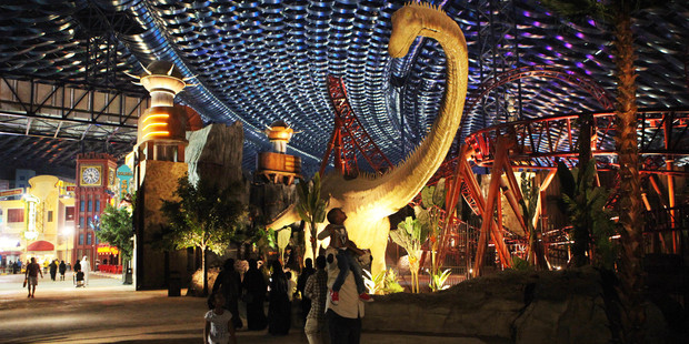 The IMG Worlds of Adventure park recorded about 3000 visitors on Wednesday. Photo / AP