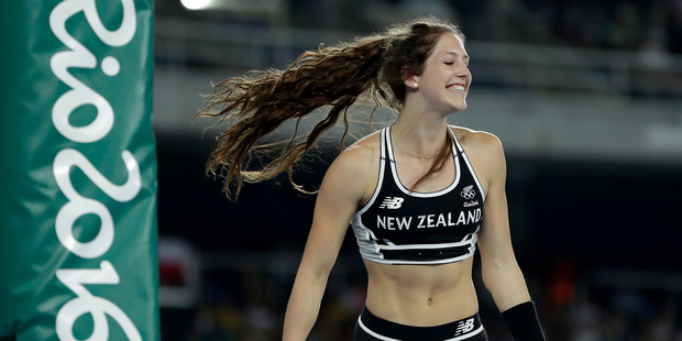 New Zealand's Eliza McCartney competes in the women's pole vault final, during the athletics competitions of the 2016 Summer Olympics. Photo / AP.