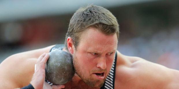 Tom Walsh of New Zealand competes in the men's shot put event at the IAAF Diamond League athletics meeting at Stade de France. Photo / AP.