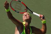 Petra Kvitova, of the Czech Republic, serves to Jelena Ostapenko, of Latvia, during the first round of the U.S. Open tennis tournament. Photo / AP.