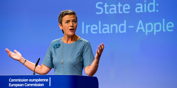 Loading European Union Competition Commissioner Margrethe Vestager speaks during a media conference on Apple's tax arrangements. Photo / AP
