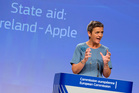 European Union Competition Commissioner Margrethe Vestager announcing the Apple Irish tax decision. Photo / AP