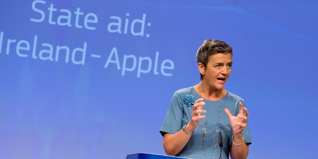 Loading European Union Competition Commissioner Margrethe Vestager announcing the Apple Irish tax decision. Photo / AP