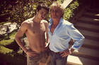 Liam Stewart with his dad Rod Stewart. Photo / Twitter.