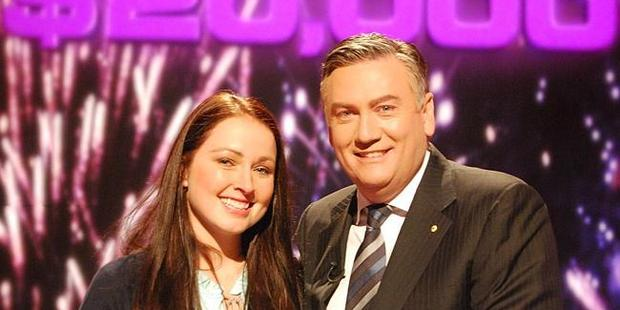 Eddie McGuire and prior contestant Bri Dredge on the set of Millionaire Hotseat. Photo / Supplied