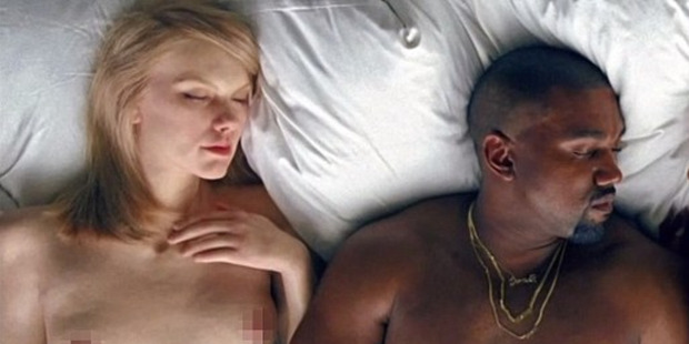 A still from Kanye West's video for the song Famous, which depicts West in bed with a number of celebrities including Taylor Swift.