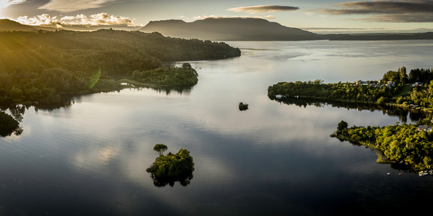 Lake Tarawera. Drone photograph by Stephen Parker.