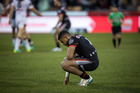 Warriors player David Fusitu'a looks dejected after their loss during round 25 of the NRL Rugby League match between the Warriors and the West Tigers played at Mt Smart Stadium.
