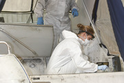 A boat connected with the Northland meth bust is fingerprinted by the police. Photo / Michael Cunningham