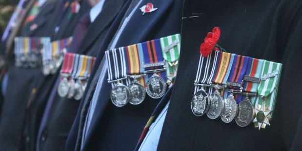 SYMBOLS OF SERVICE: Vietnam War medals worn by veterans of New Zealand's Victor Five company at a V5 Remembrance Service at the Cenotaph in Masterton.