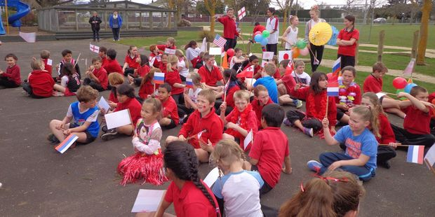 Takapau School children represent the different nations at their Olympic Day.