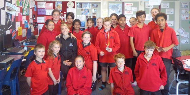 Former Black Stick Emily Gaddum had lots of good advice for the children of Takapau School on her recent visit.
