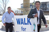 Standing for a seat with Hastings District Council Damon Harvey (left) and Bayden Barber are organising a Walk for Water on Saturday, from the Havelock North fountain to the fountain in the Hastings CBD. Photo / Duncan Brown