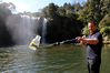 ALL CLEAR: Opua-based environmental monitoring officer Adam Phillips at Kerikeri's Rainbow Falls, last year named among New Zealand's top 10 swimming spots.