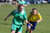 Otumoetai's Nicola Hongston (green) and Ella Fooks from Rotorua Utd - women's football at Fergusson Park Tauranga - Rotorua won 8-0