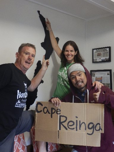 Robbed Japanese tourist Takaishi Mamoru, with Hone Heke Lodge owners David and Victoria Howells, got to see Cape Reinga and the other side of Northland after he was robbed a week ago.