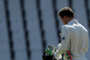 New Zealand's batsman Henry Nicholls, leaves the field after being dismissed by South Africa's bowler Kagiso Rabada, for 36 runs on the third day of their second cricket test match at Centurion Park