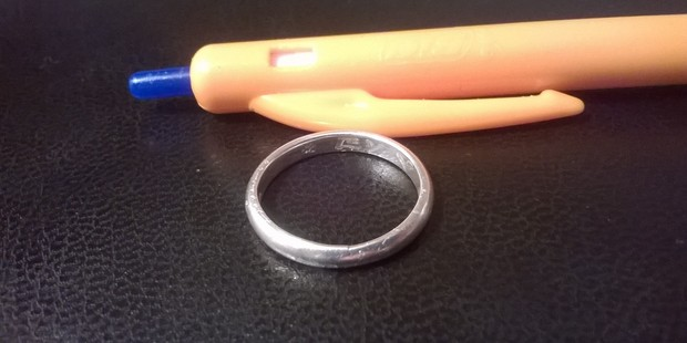 "The silver ring engraved with ""EY ♥ H.S"" on the inside of the band. PHOTO/SUPPLIED"