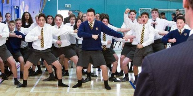Pupils perform a haka during a special assembly yesterday.