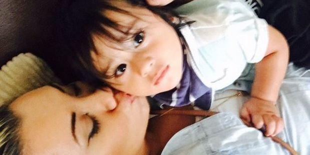 Paris with her nephew Amarni who has tragically passed away. Photo / Instagram/Paris Goebel