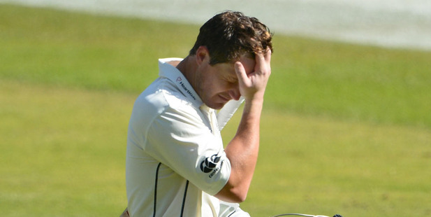 Bj Watling reacts after being dismissed on day four of the second test against South Africa. Photo / Getty