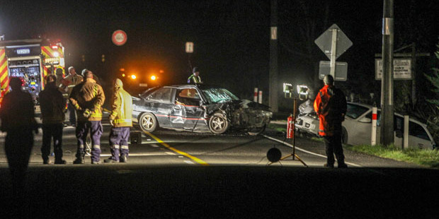 Emergency services are investigating a possible fatality after two cars crashed 1km north of Waipukurau.