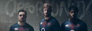 Jack Nowell (left), George Kruis (centre), and Maro Itoje helped launch the kit. Photo / canterbury.com