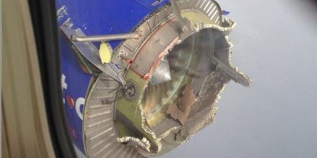 Southwest Airlines confirmed a flight had a problem with an engine. Photo / via Twitter
