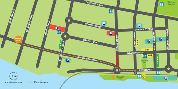 A map of where the Tauranga Olympic Parade will travel today. Image/Tauranga City Council