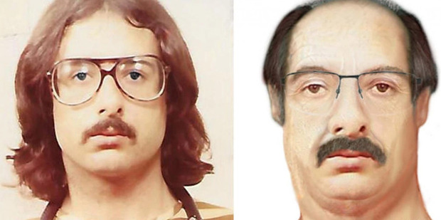 Wanted man John Kelly Gentry Jr. seen at left in an undated booking photo and in an age-progressed artist's depiction of him at age 63. Photo / Washington Post