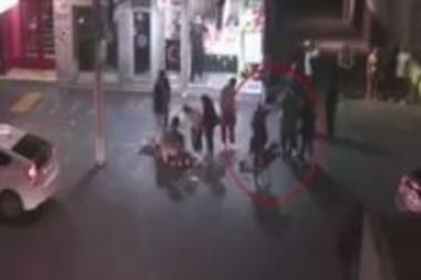 """Police are seeking information on the """"cowardly"""" attackers in the footage. Photo / NZ Police"""